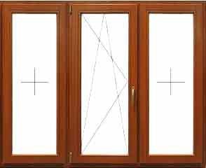 Трехстворчатое окно 2040 * 1400 мм